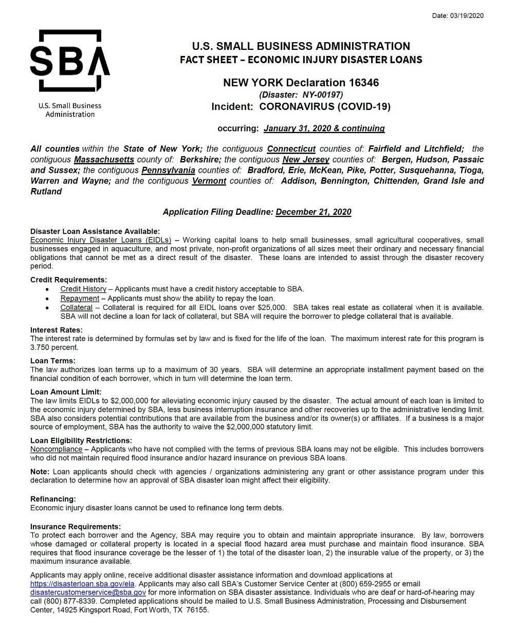 SBA fact sheet